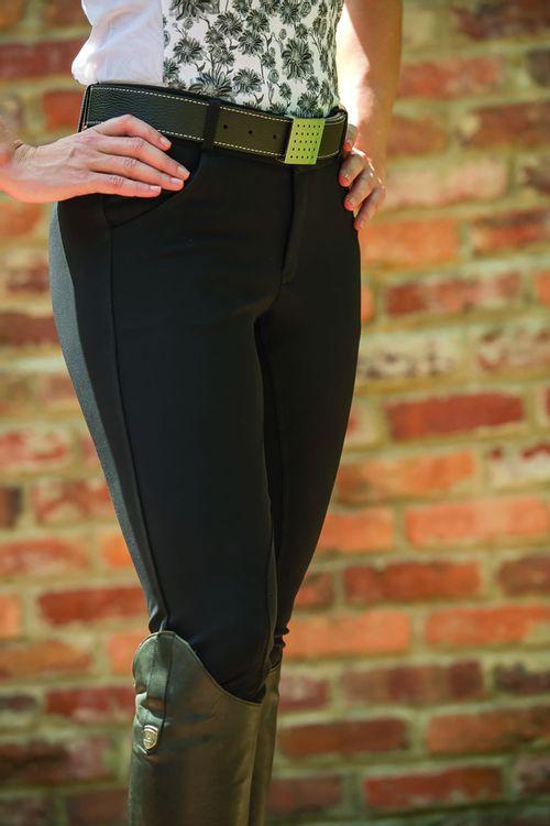 OPEN BOX: Pippa Suede Knee Patch Breeches - Noir Black-32 Regular