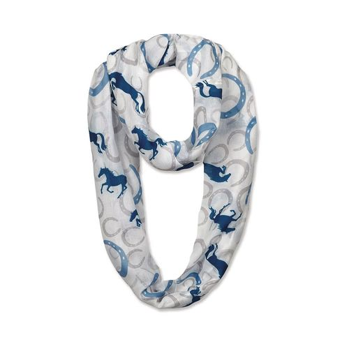 Kelley and Company Horses and Horseshoes Infinity Scarf - White