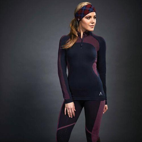 Dublin Black Women's Sarah Seamless Half Zip long Sleeve Shirt - Navy/Scarlet