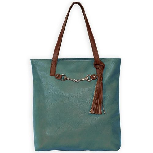 Kelley and Company Snaffle Bit with Tassel Tote Bag - Teal