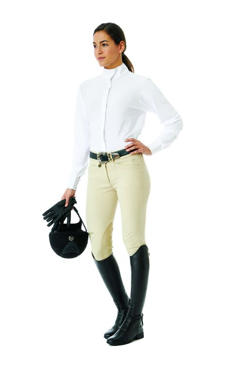 Ovation Women's Long Sleeve Tech Show Shirt - White/White