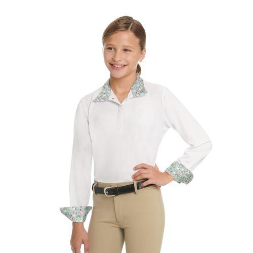Ovation Kids' Ellie Quarter Snap Show Shirt - White/Unicorn Sprinkles