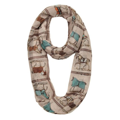 Kelley and Company Horses in Brown Blankets Infinity Scarf - Brown