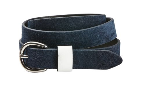 Dublin Suede Leather Belt - Navy/White