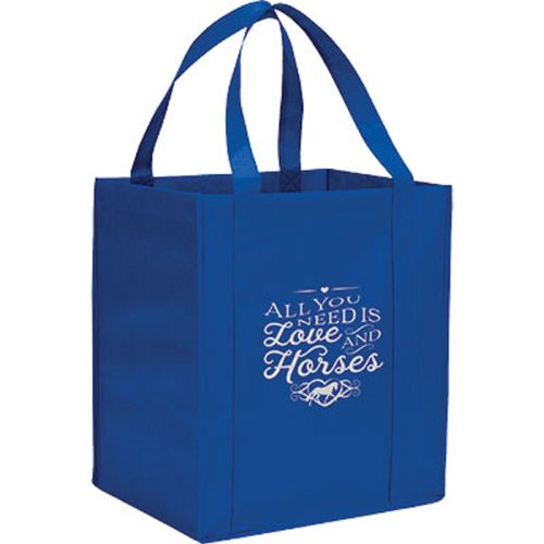 Kelley and Company All You Need is Love & Horses Grocery Tote - Blue