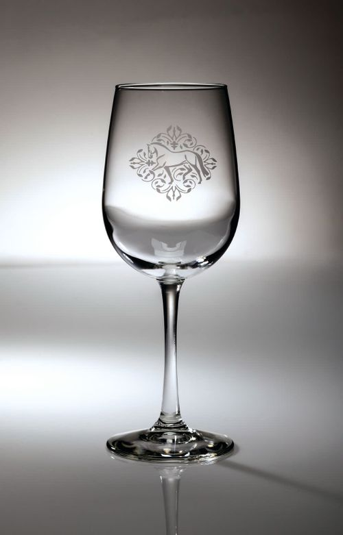 Kelley and Company Floral Etched Equestrian Wine Glass - Dressage