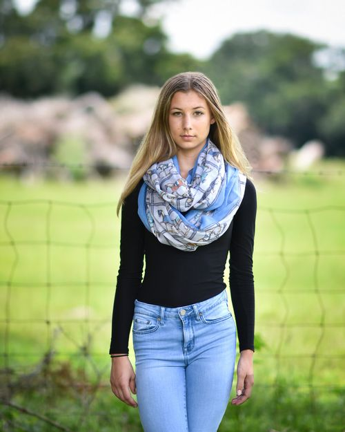 Kelley and Company Horses in Blue Blankets Infinity Scarf - White