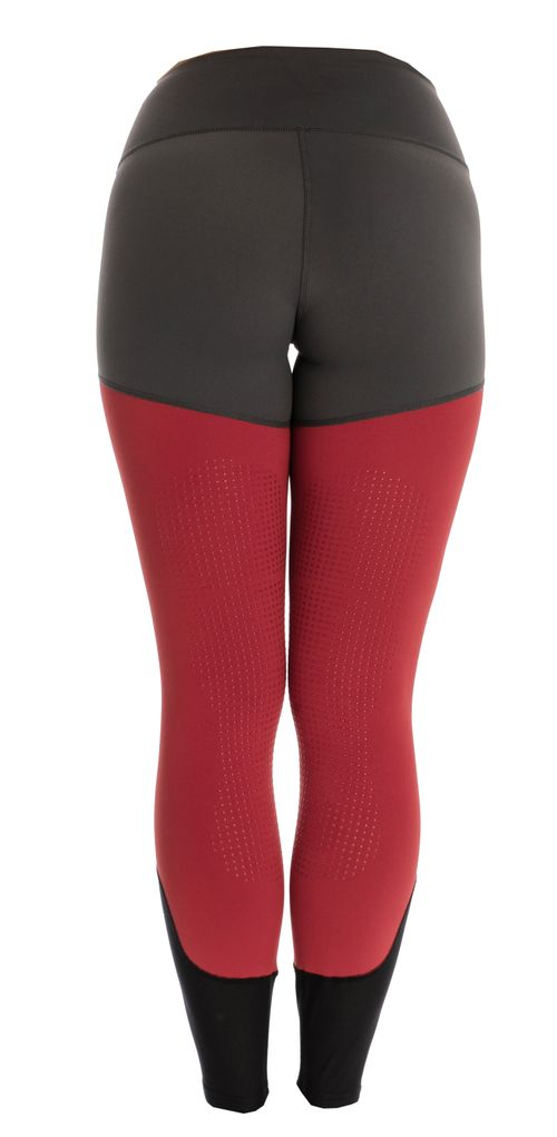 Horseware Women's Fashion Silicon Grip Riding Tights - Charcoal/Redwood