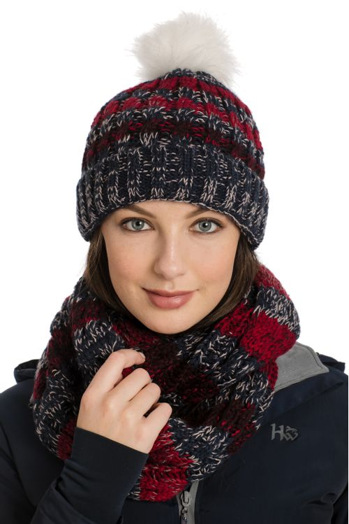 Horseware Knitted Hat and Snood - Navy Stripe