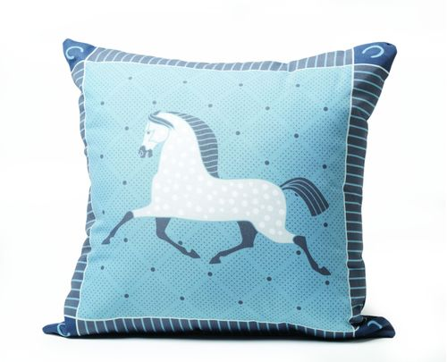 Kelley and Company Dapple Grey Horse Throw Pillow - Blue