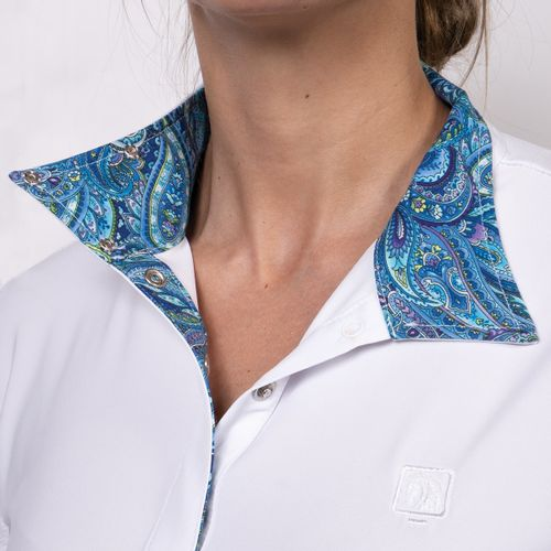 Romfh Women's Lindsay Long Sleeve Show Shirt - White/Blue Paisley