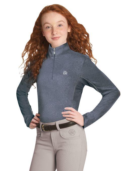 Ovation Kids' SoftFlex UV Long Sleeve Tech Shirt - Navy Melange