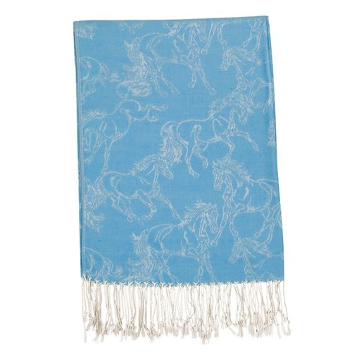 Kelley and Company Linear Horse Pashmina Scarf - Turquoise