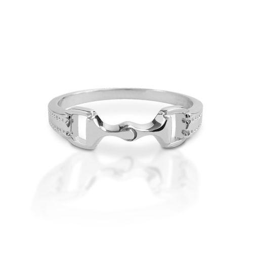 Kelly Herd 6mm Bit Ring - Sterling Silver/Clear