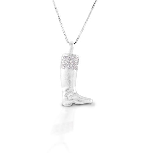 Kelly Herd English Boot Necklace - Sterling Silver/Clear