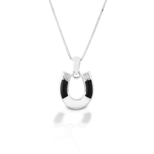 Kelly Herd Two Tone Horseshoe Necklace - Sterling Silver/Clear