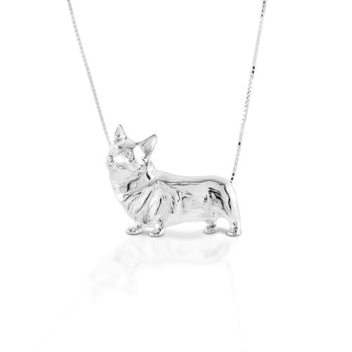 Kelly Herd Large Corgi Necklace - Sterling Silver/Clear
