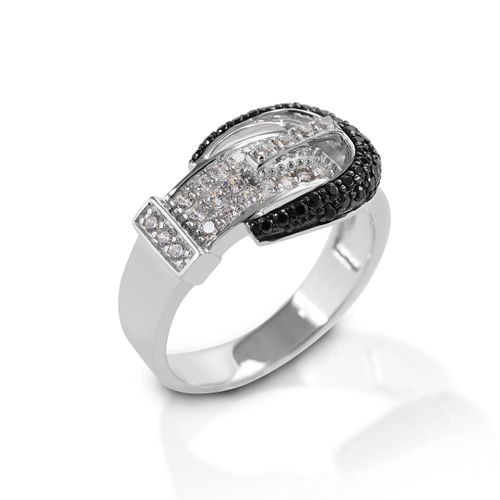 Kelly Herd Pave Buckle Ring - Sterling Silver/Black