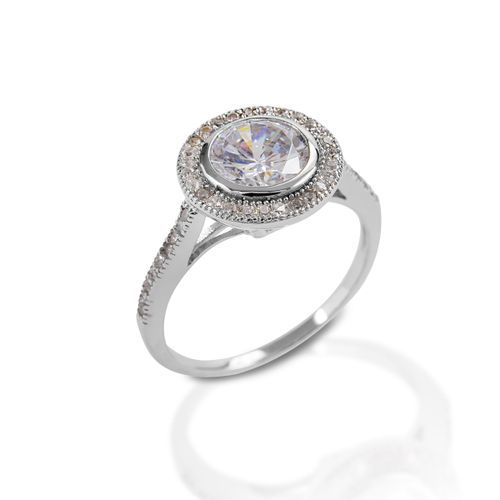Kelly Herd Round Bevel Set Pave Ring - Sterling Silver/Clear