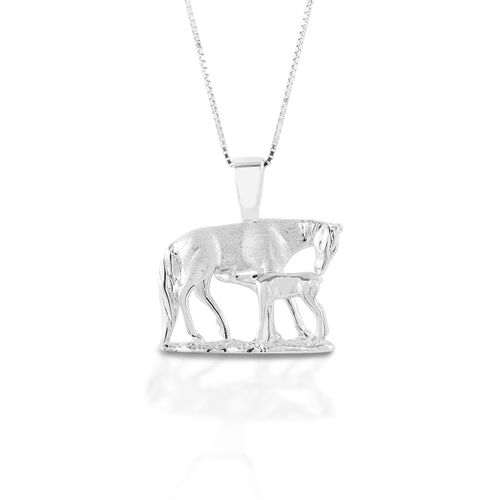 Kelly Herd Nursing Mare & Foal Necklace - Sterling Silver/Clear