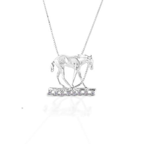 Kelly Herd Foal & Halter Pendant - Sterling Silver/Clear