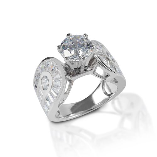 Kelly Herd Horseshoe Solitaire Ring - Sterling Silver/Clear
