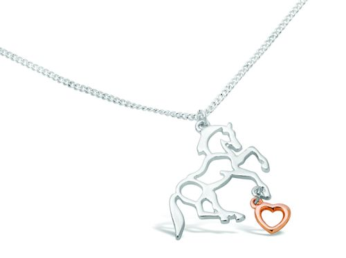 Kelley and Company Silver Horse with Rose Gold Dangle Heart - Silvertone