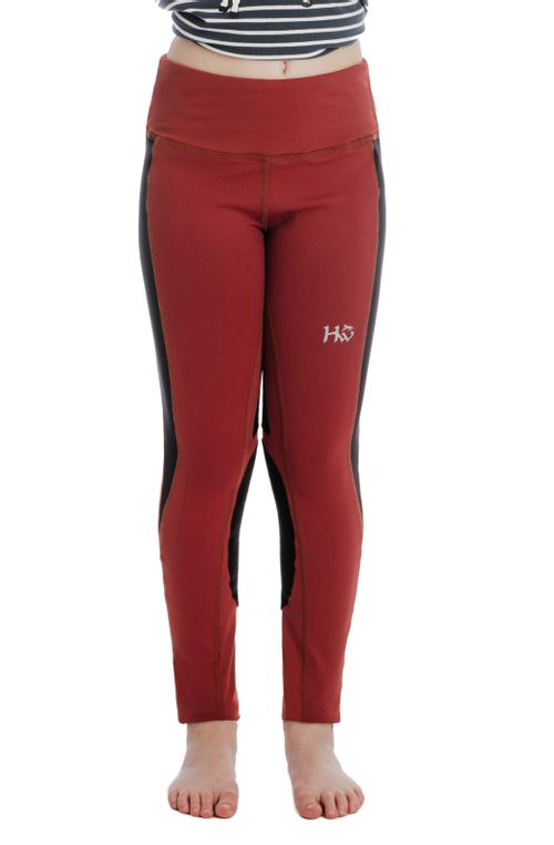 Horseware Kids' Knee Patch Riding Tights - Redwood