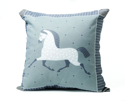 Kelley and Company Dapple Grey Horse Throw Pillow - Grey