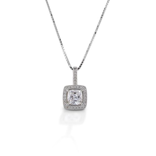 Kelly Herd Square Bezel Set Pave Pendant - Sterling Silver/Clear
