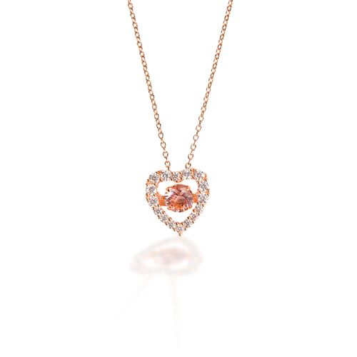 Kelly Herd Rose Gold Heart Pendant - Sterling Silver/Pink
