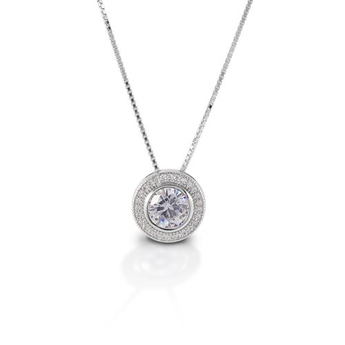 Kelly Herd Round Bezel Set Pave Necklace - Sterling Silver/Clear