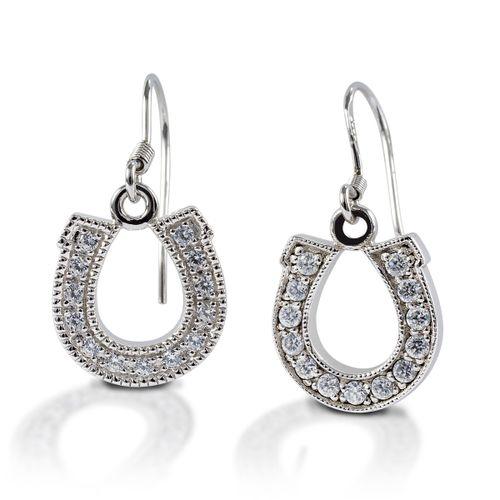 Kelly Herd Dangle Horseshoe Earrings - Sterling Silver/Clear
