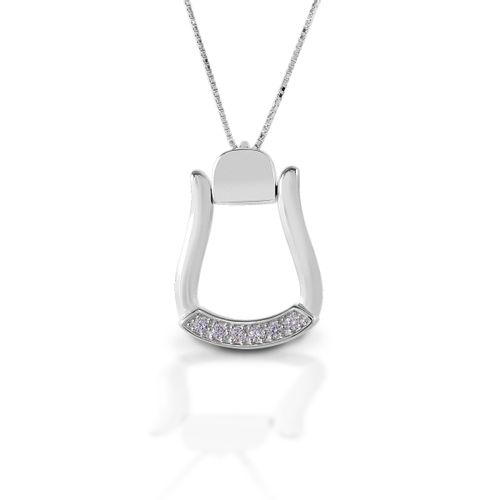 Kelly Herd Large Stone Base Oxbow Stirrup Necklace - Sterling Silver/Clear
