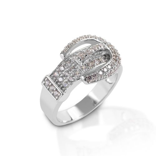 Kelly Herd Pave Buckle Ring - Sterling Silver/Clear