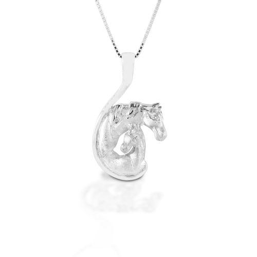 Kelly Herd Mare & Foal Head Necklace - Sterling Silver/Clear