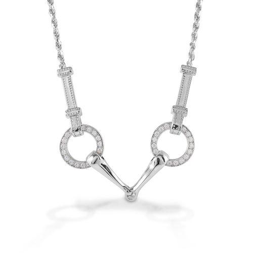 Kelly Herd Snaffle Bit Necklace - Sterling Silver/Clear