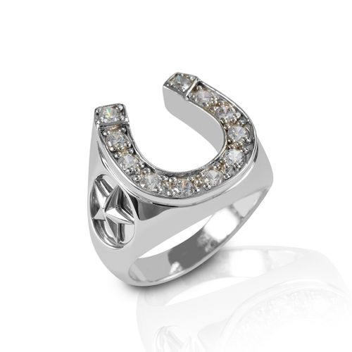 Kelly Herd Engraved Stars Horseshoe Ring - Sterling Silver/Clear
