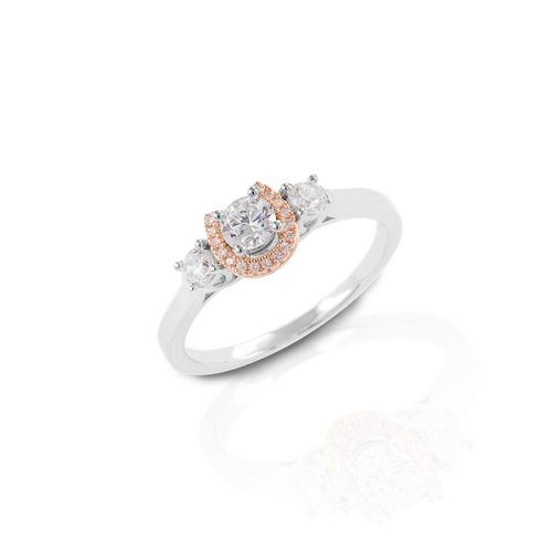Kelly Herd Small Three Stone Rose Gold Horseshoe Ring - Sterling Silver/Clear