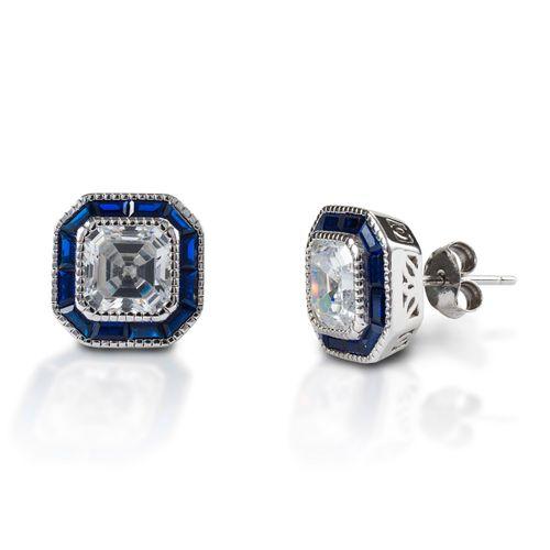 Kelly Herd Asscher Cut Spinel Earring - Sterling Silver/Blue