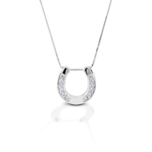 Kelly Herd Large Horseshoe Pendant - Sterling Silver/Clear
