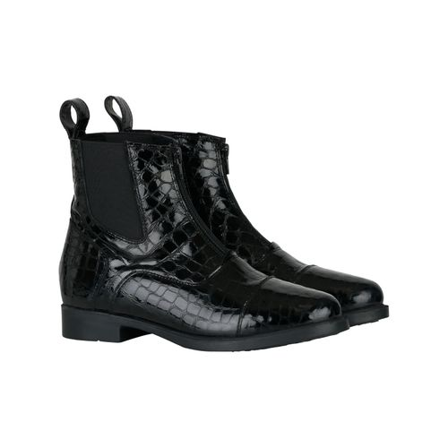 Horze Women's Front Zip Paddock Boots with Croco Pattern - Black