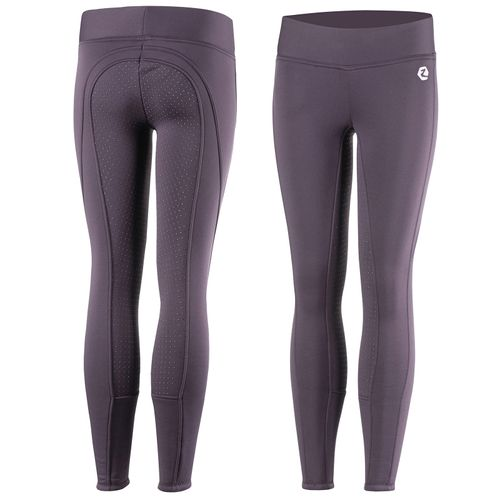 Horze Kids' Active Silicone Full Seat Winter Tights - Plum Perfect