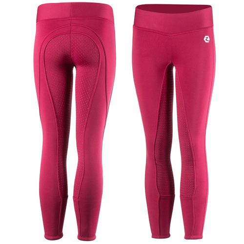 Horze Kids' Active Silicone Full Seat Winter Tights - Cerise Red Pink