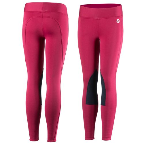 Horze Kids' Active Winter Knee Patch Tights - Cerise Red Pink