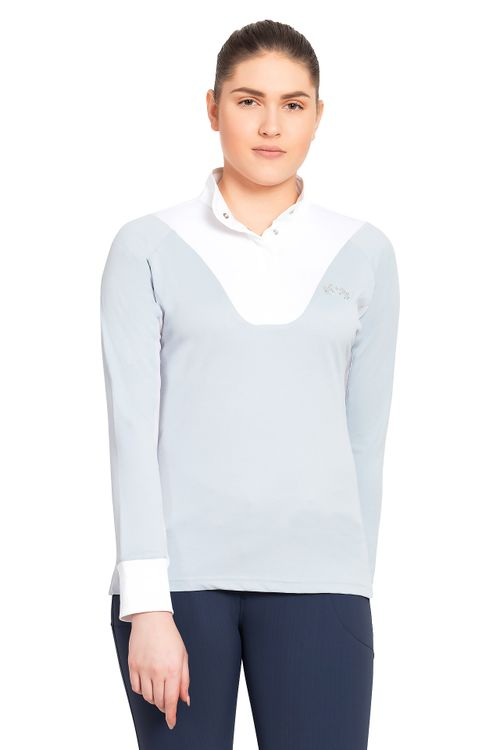 Equine Couture Women's Maggie Long Sleeve Show Shirt - Celestial Blue/White