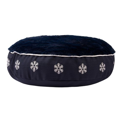 Halo Round Dog Bed - EC Navy/Snowflake