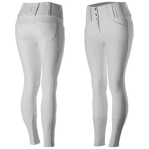 Horze Women's Desiree Full Seat Breeches - White/Silver