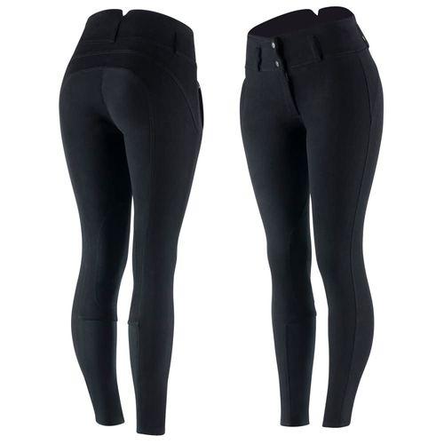 Horze Women's Daniela Leather Knee Patch Breeches - Black