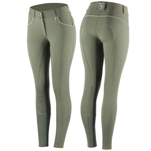 Horze Women's Aubrey High Waist Breeches Silicon Knee Patch - Beetle Khaki Green